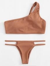 swimwear,girly,bikini,bikini top,bikini bottoms,two-piece,matching set,cut-out,taupe,nude,one shoulder