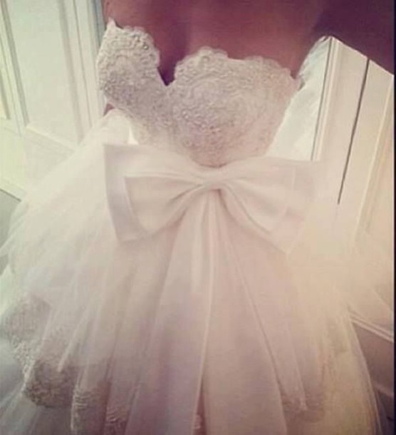 dress wedding dress white dress bow dress tulle wedding dress