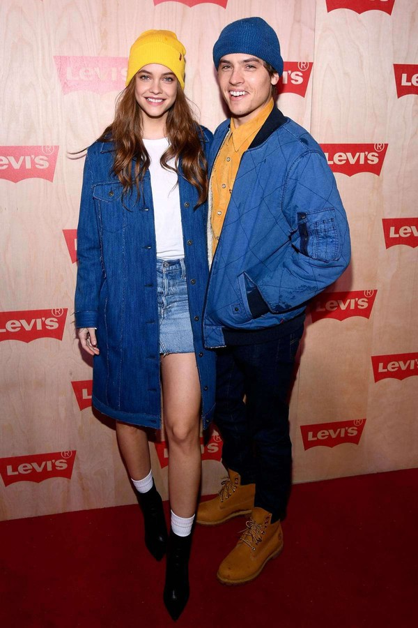 coat barbara palvin model off-duty fall outfits denim jacket denim dylan sprouse celebrity