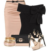shirt,clothes,shoes,skirt,high heels,pink,pink skirt,black bow,black,classy,clutch,earrings