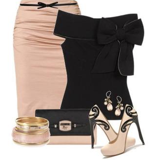 shirt clothes shoes skirt high heels pink pink skirt black bow black classy clutch earrings