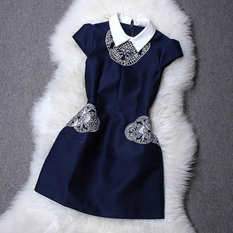 classy dress fashion party dress preppy girl women cool embellished navy