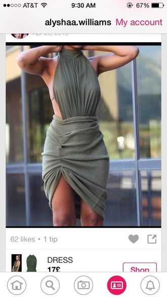 dress halter neck green green dress khaki khaki dress classy dressy