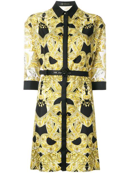 VERSACE dress belted dress women leather silk