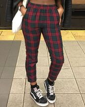 pants,plaid,red,checkered pants,high waisted,high waisted pants