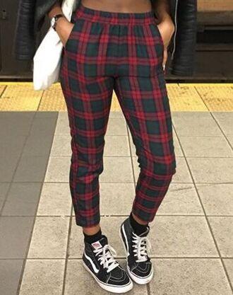 pants plaid red checkered pants high waisted high waisted pants