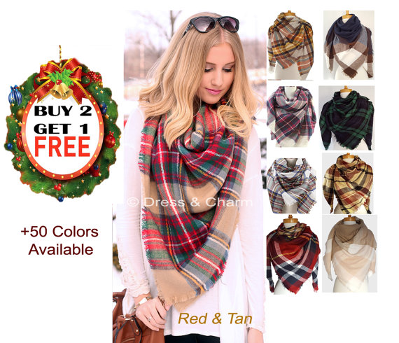 blanket scarf, gift for her, winter scarf, Plaid Blanket Scarf, tartan  scarf, Christmas gift, Plaid Scarf, Bridesmaid Gifts, gift ideas