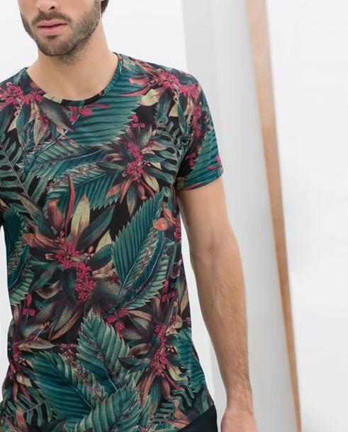 t-shirt floral mens t-shirt blue shirt green palm leaves menswear summer tropical hipster menswear