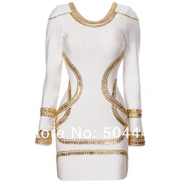 White Long Sleeve Bandage Dress Studded HL Dress For Elegant Women-in Dresses from Apparel & Accessories on Aliexpress.com