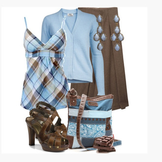 tank top empire top plaid blue plaid spaghetti strap skirt brown skirt heels sandal heels sweater pleated skirt clothes outfit