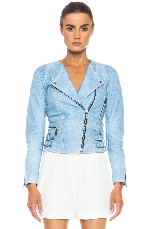 Barbara Bui|Printed Lambskin Leather Moto Jacket in Light Blue