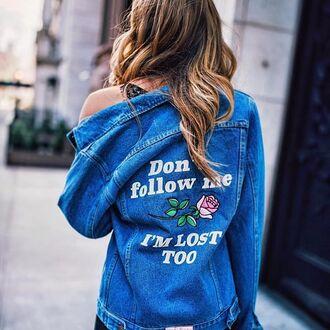 jacket yeah bunny denim retro oversized jacket rose dontfollow lost 36683 embroidered