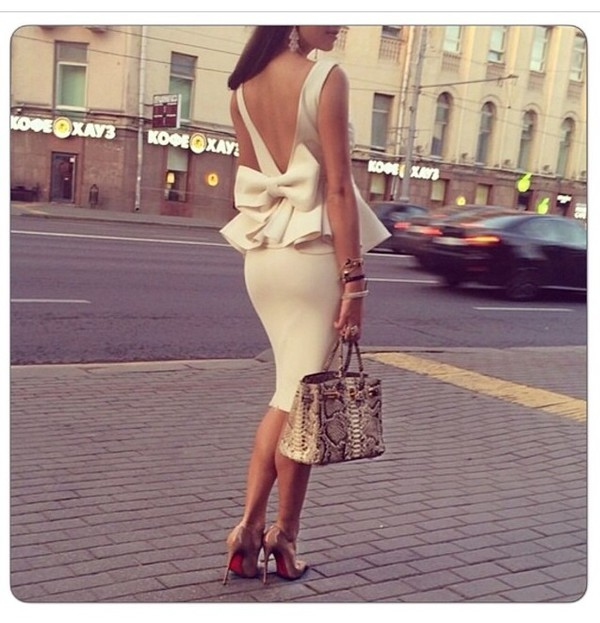 anycolor dress cute dress midi dress Bow Back Dress classy white bow dress