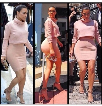 dress beige dress kim kardashian sleeves