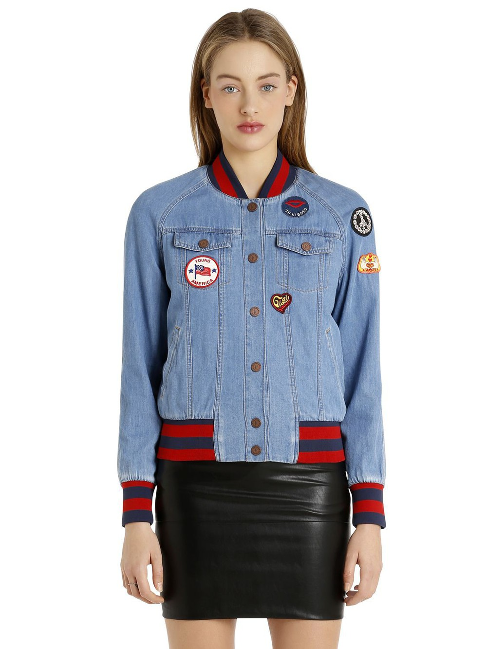 TOMMY HILFIGER Gigi Hadid Patches Denim Bomber Jacket in blue ...