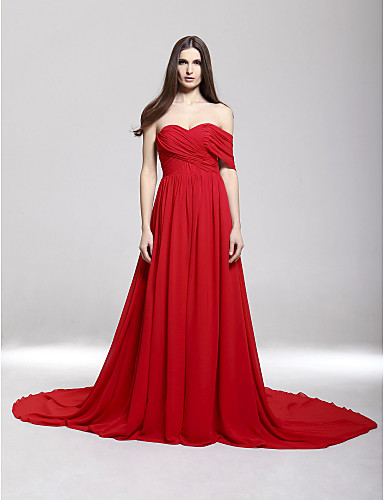 Chiffon A-line Off-the-shoulder Court Train Evening Dress inspired by Camilla Belle - USD $ 117.99