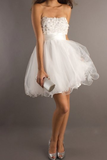 Beading Tiers Strapless Tulle Open Back A-line Cocktail Dress Sale Online - DRESSESMALL