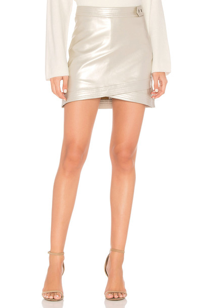 Line & Dot skirt mini skirt mini metallic silver