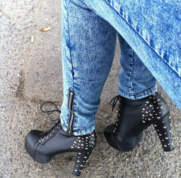 shoes plateau shoes black heels high heels heels rivet shoes plateau high heels high heels style