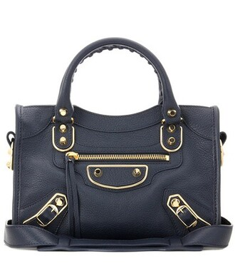 metallic classic leather blue bag