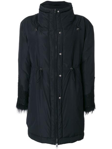 Ermanno Scervino coat parka fur fox women black wool