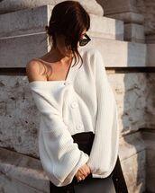 cardigan,white cardigan,sweater