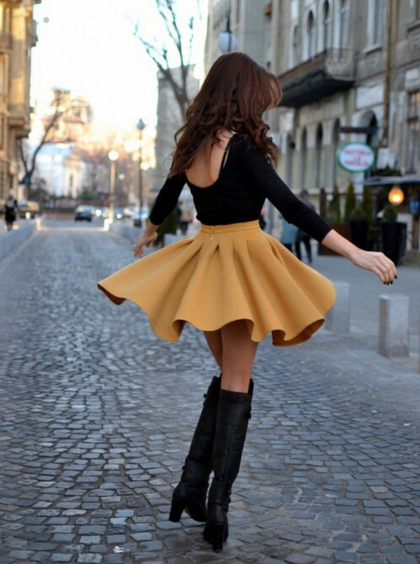 skirt skater skirt gold