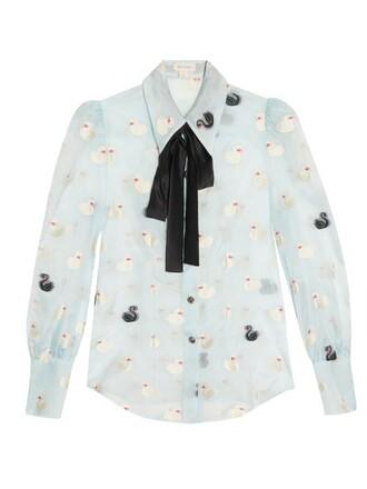 blouse jacquard light blue light blue top