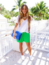 shoes,superga,white t-shirt,green shorts