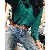 belt,tumblr,green top,long sleeves,gucci,gucci belt,denim,jeans,blue jeans,logo belt,satin shirt