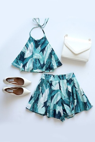 shorts swimwear shorts and shirt blue summer outfit please help me find romper print set pattern spring crop top leaves green pretty stock short tie halter neck cute environment