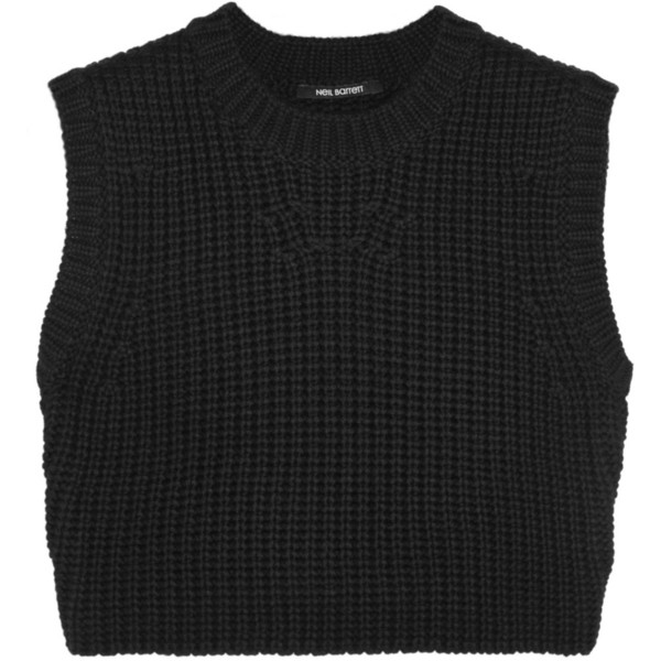 Neil Barrett Cropped wool-blend top
