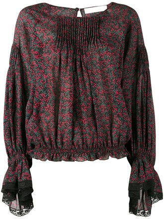 blouse women lace cotton silk red top