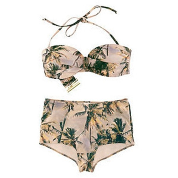 vintage top summer swimwear bikini botton palmtrees beach