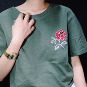 top,rose,embroidered,t-shirt,90s style,vintage,shirt,back to school,classic,green,green shirt,dark green,aesthetic,flowers,red,cool,lovely,cute,earth,grunge,hipster,punk,rose embroidered