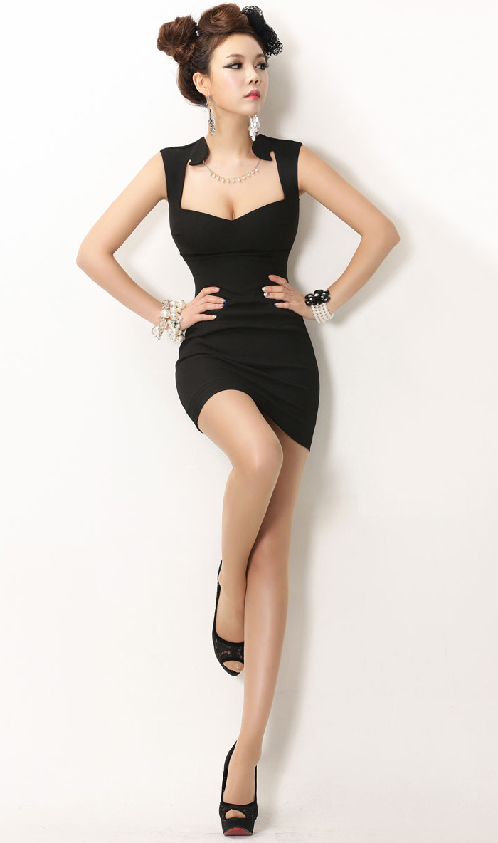 Alluring Diamond Neckline Bodycon Tank Dress For Women, Shop online for $15.40 Cheap Dresses code 715662 - Eastclothes.com