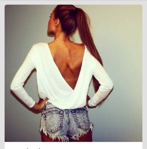 white open back blouse
