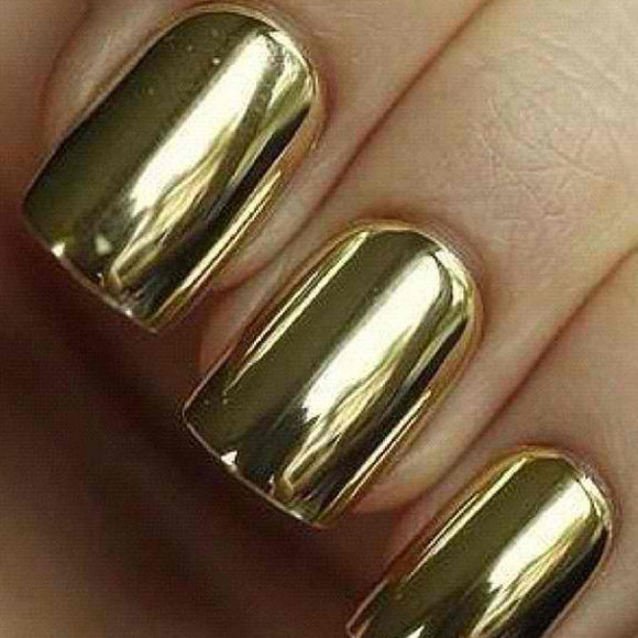nail armour nails nail polish gold metallic mirror mirror effect