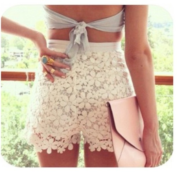 Shorts: dentelle, flowers, flowered shorts, lace shorts, white ...