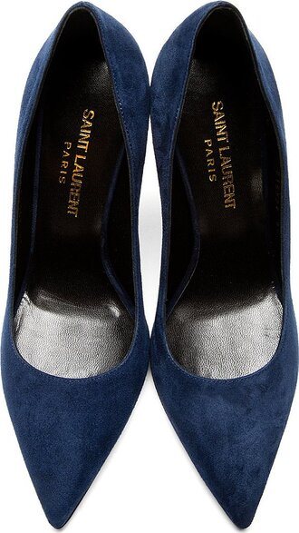 the fashion eaters blogger saint laurent navy stilettos pointed toe