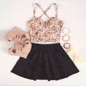 top,floral crop top,party,summer outfits,clothes,bustier crop top,black skater skirt,wedges,outfit,bow