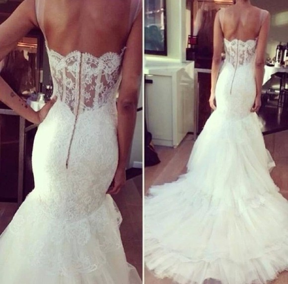 dress white wedding dress long lace wedding dresses mermaid wedding dresses
