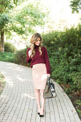 brighton the day blog | dallas fashion blog blogger skirt sweater shoes burgundy sweater turtleneck sweater handbag nude skirt pencil skirt high heel pumps