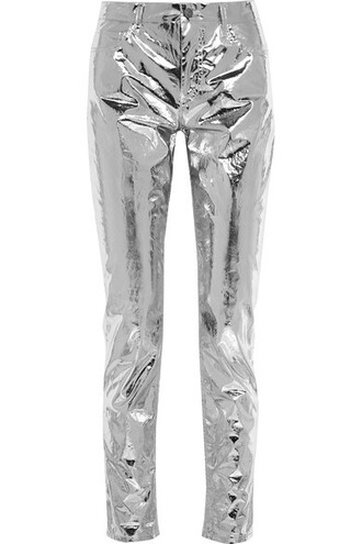 pants skinny pants metallic silver cotton