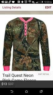 top,camouflage,camo shirt,pink,hot pink,warm,fleece,henley,cozy,hunting,country,cowgirl,girly