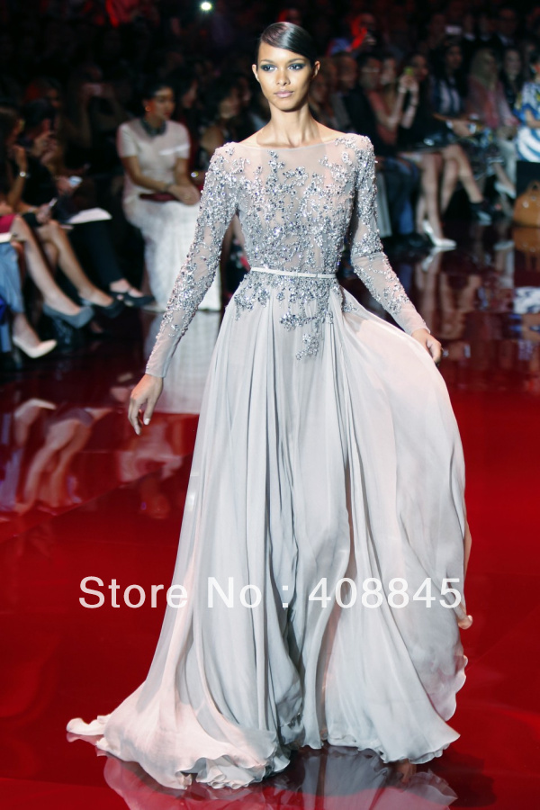 Aliexpress.com : buy 2014 new arrival elegant scoop a line long sleeve elie saab evening dresses normal prom gown size 2 4 6 8 10 12 from reliable gown dress suppliers on pretty girl trade co., ltd