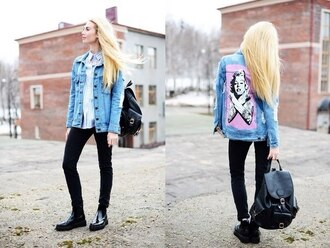 jacket monroe merlin monroe denim jacket vintage coat grunge punk tattoo blue jacket