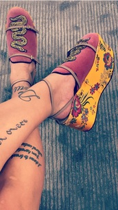 shoes,red,snake,asian floral,heels,silk