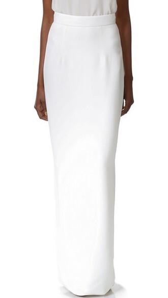 skirt long white silk