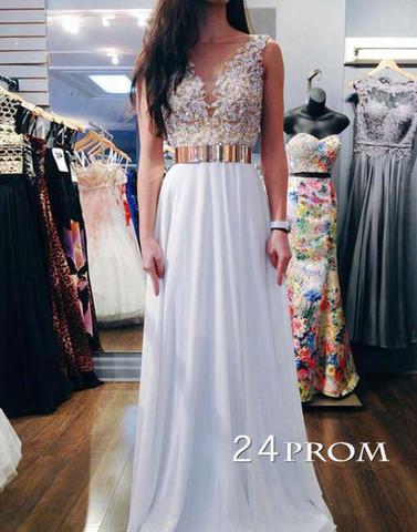 White A-line round neckline Chiffon Lace Prom Dresses, Formal Dress - 24prom